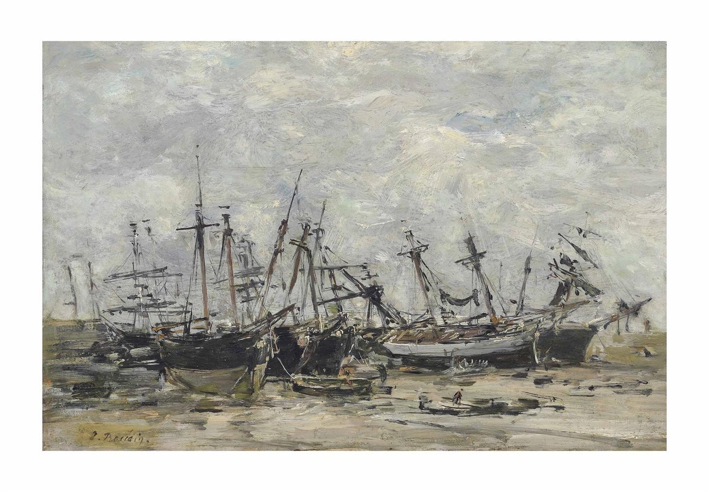 Eugene Louis Boudin-Portrieux. Bateaux Echoues-1873