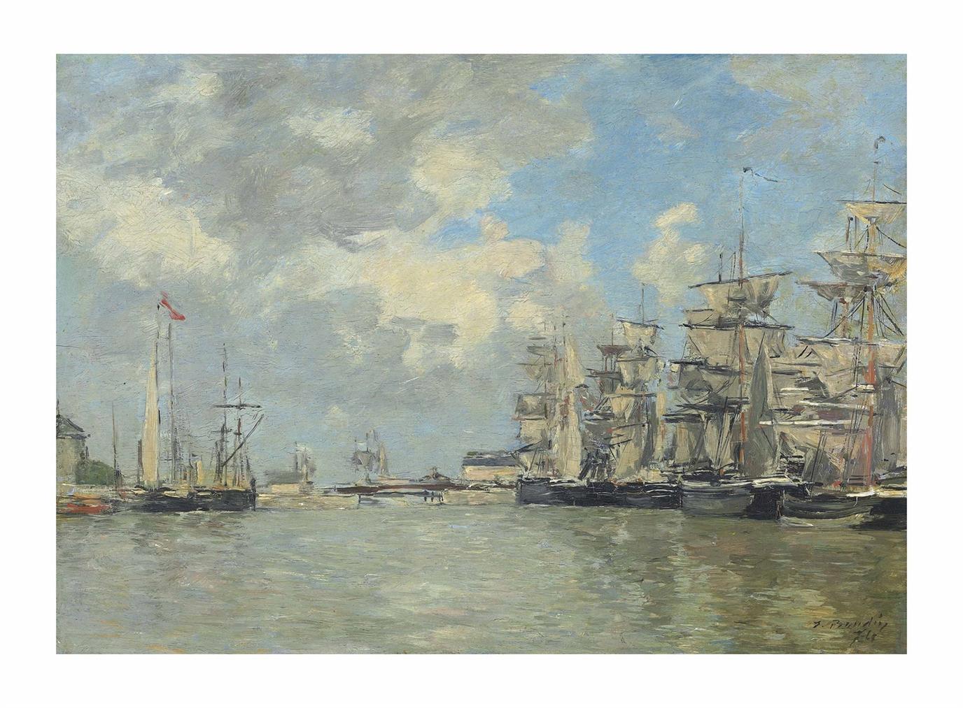 Eugene Louis Boudin-Fecamp. Voiliers Dans Le Port-1874