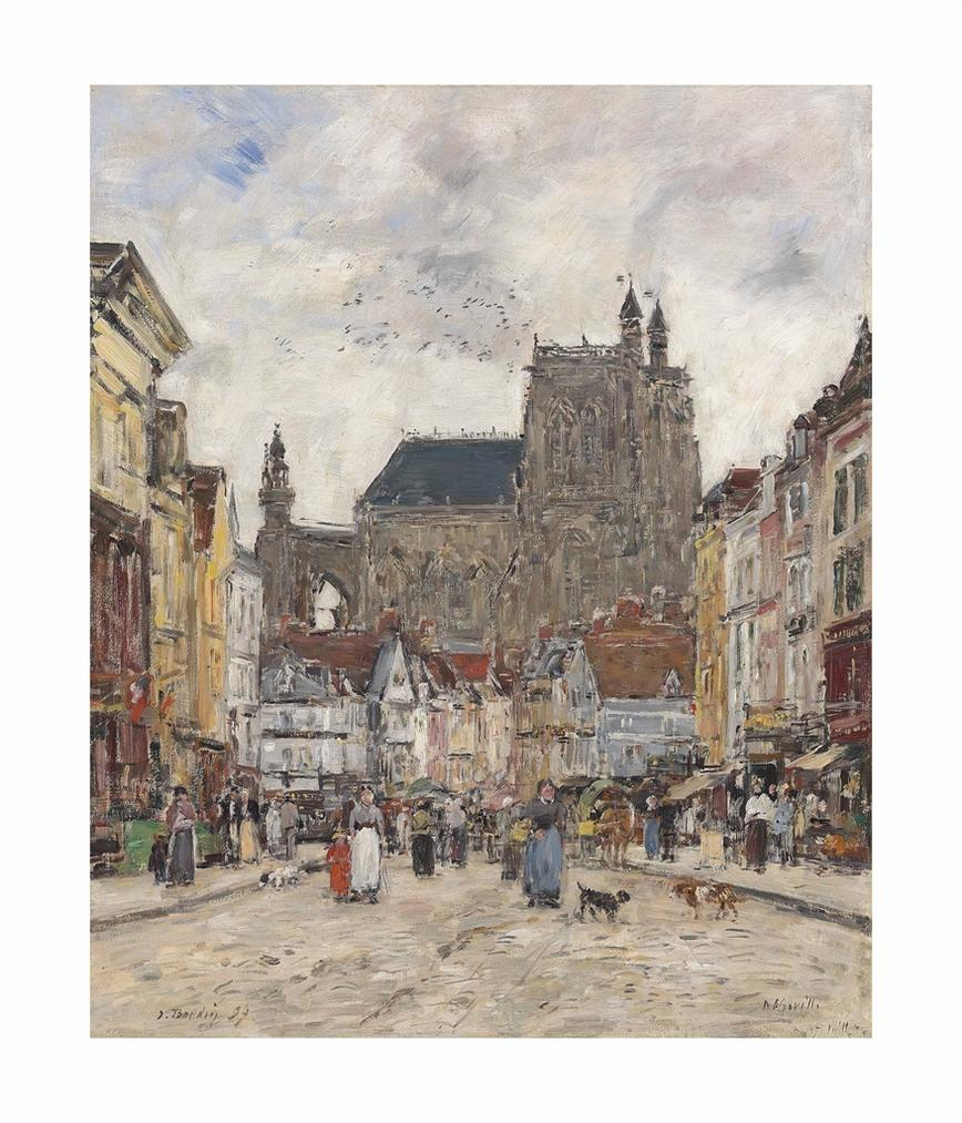 Eugene Louis Boudin-Abbeville. Rue Et Eglise Saint-Vulfran-1894