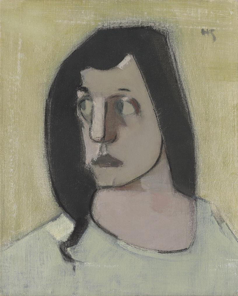 Helene Schjerfbeck - Mustatukkainen Nainen / Kvinna Med Svart Har / Woman With Black Hair-1935