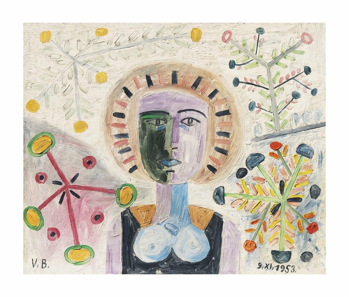 Victor Brauner-Portrait Aux Fleurs-1953