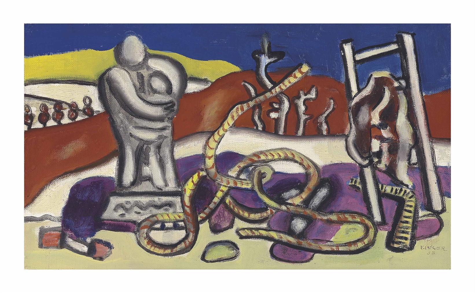 Fernand Leger-La Statue Dans Le Paysage-1935