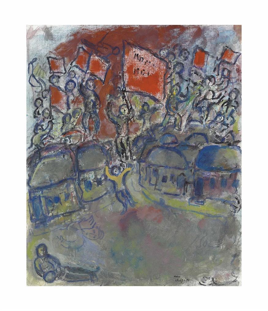 Marc Chagall-Les Drapeaux Rouges-1975