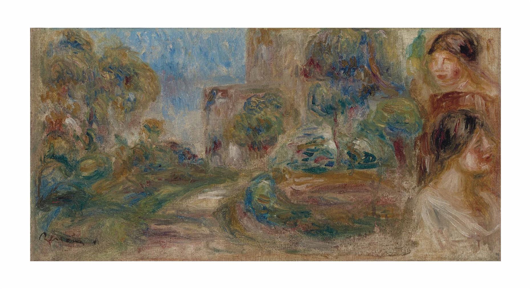 Pierre-Auguste Renoir-Paysage, Le Chemin Et Deux Figures-1917