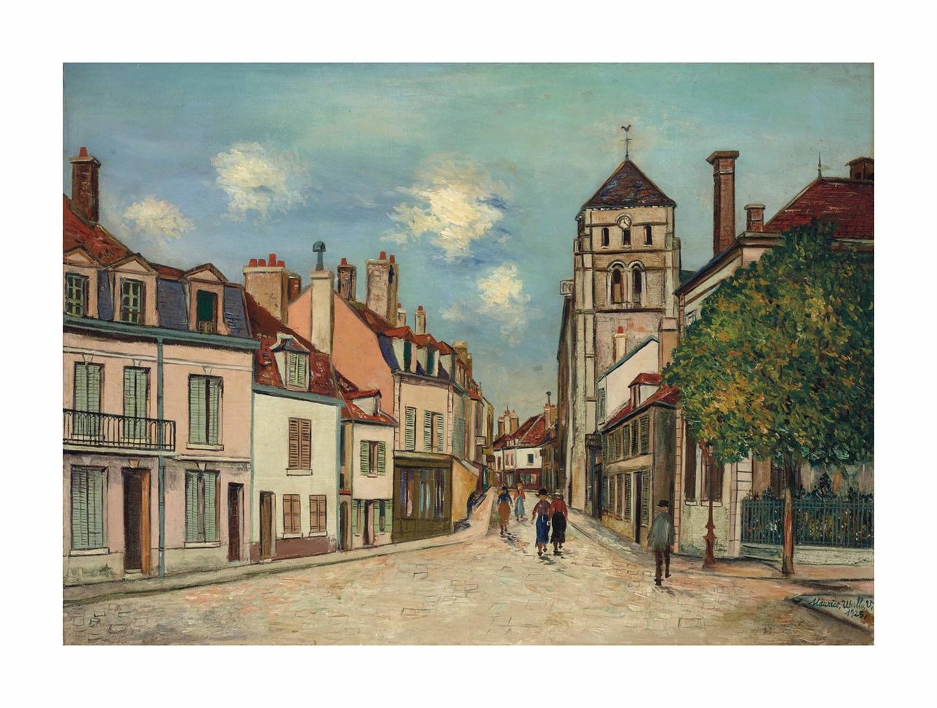 Maurice Utrillo-Cosne (Nievre), Eglise Et Rue Saint-Jacques-1925