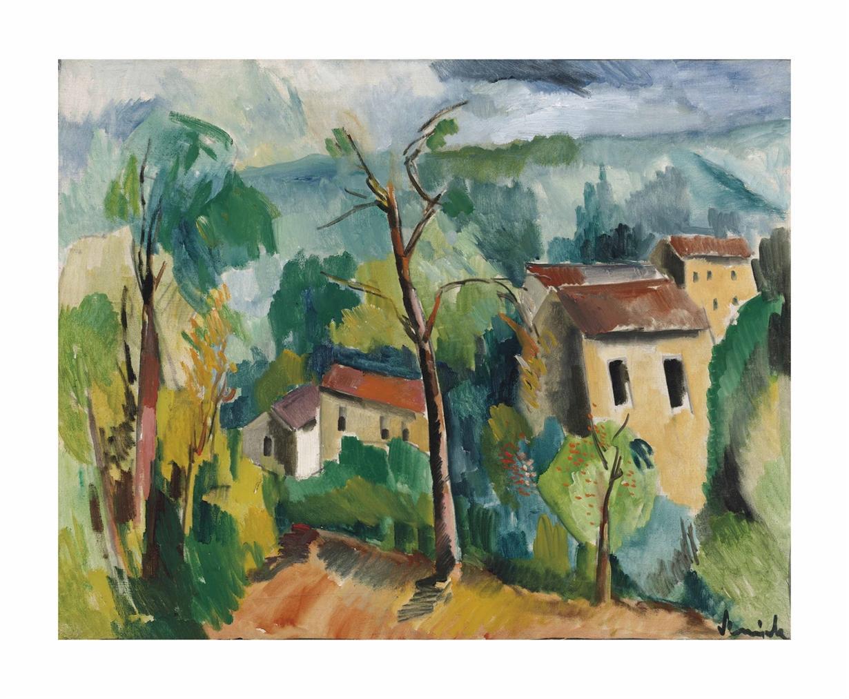 Maurice de Vlaminck-Paysage Aux Toits Rouges-1911