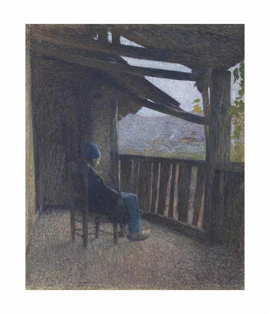 Henri Martin-Paysan Assis Sur Une Terrasse-1895