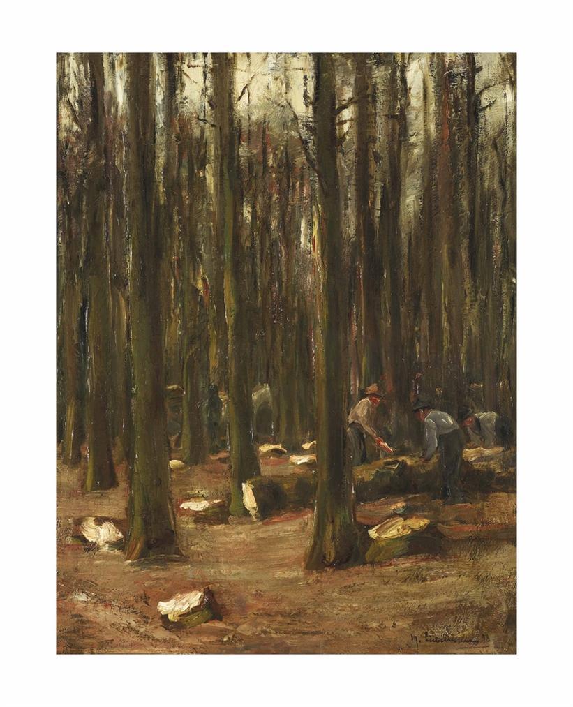 Max Liebermann-Waldarbeiter - Studie Zu Dem Wandbild 'Winter' Fur Das Rathaus Von Altona-1898