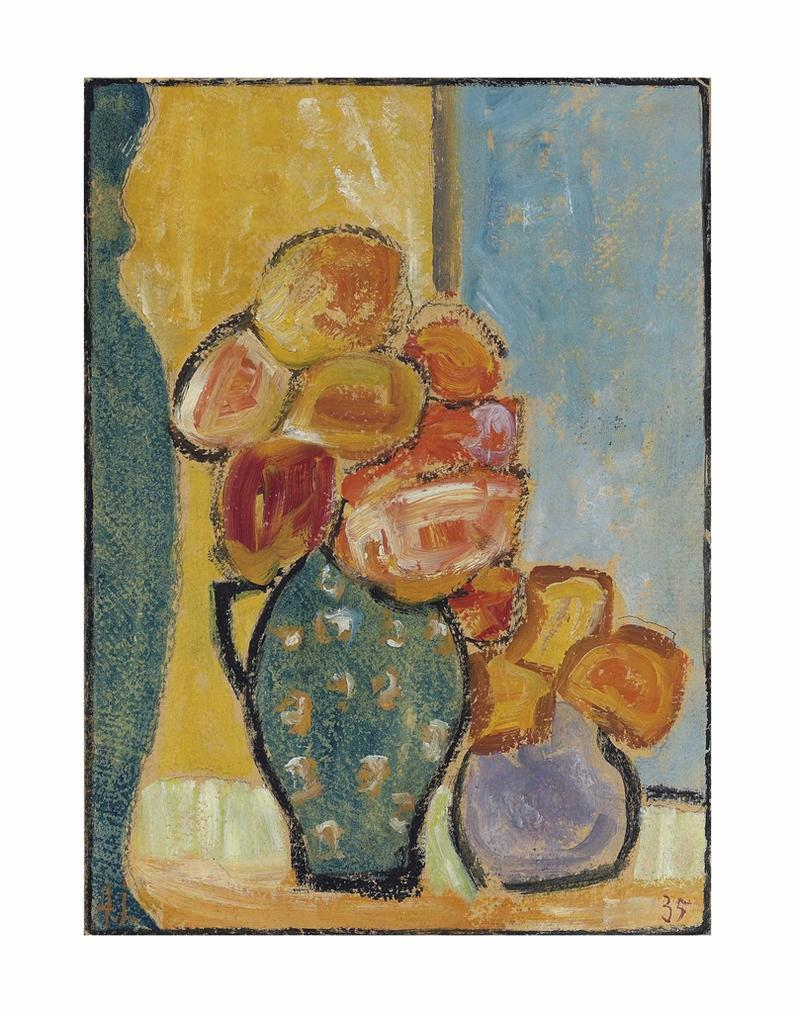 Alexej von Jawlensky-Stilleben Mit Drei Blumenvasen-1935
