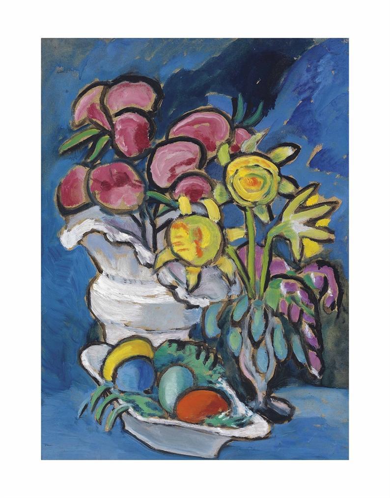 Gabriele Munter-Stilleben Mit Blumen Und Ostereiern-1955
