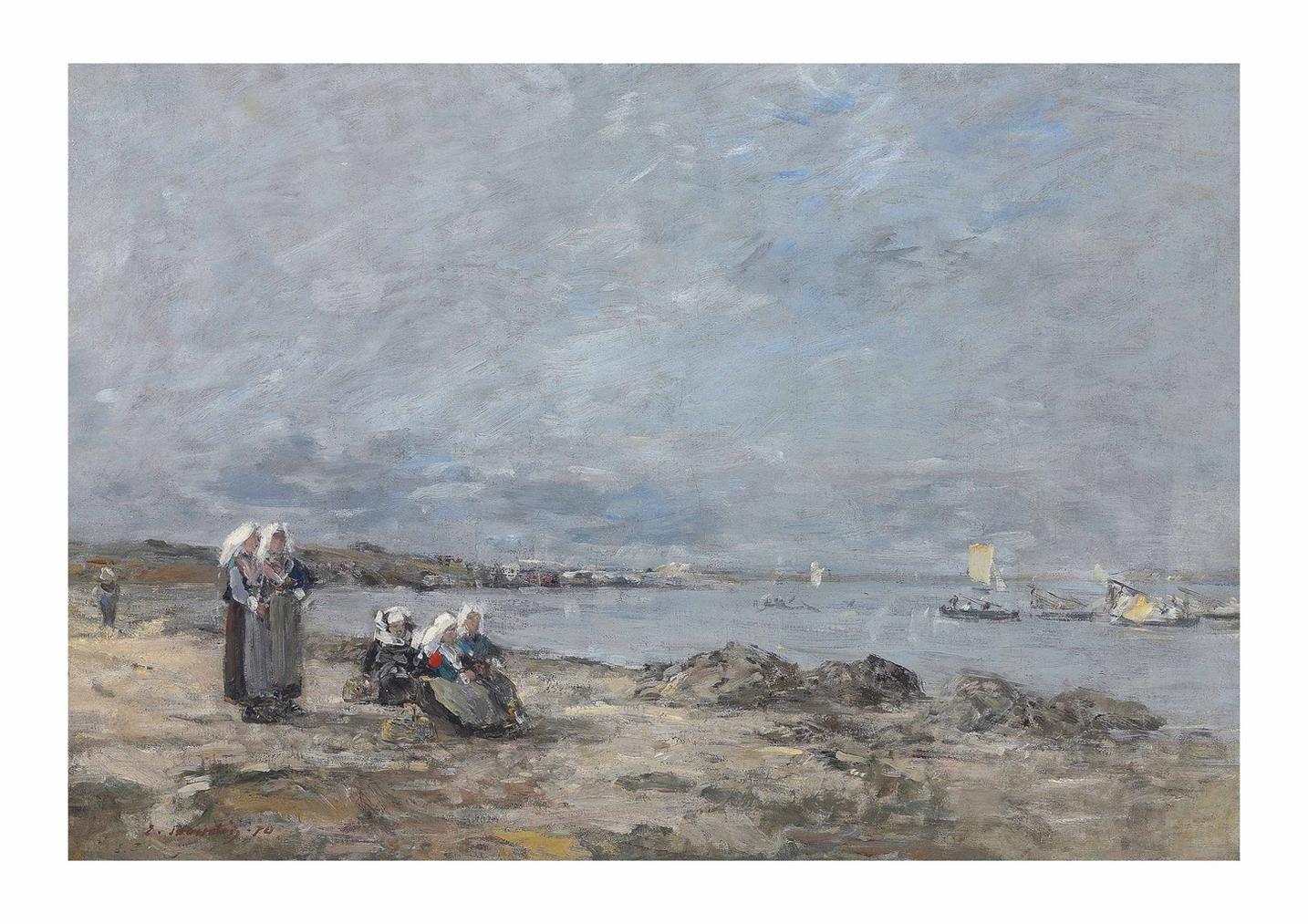 Eugene Louis Boudin-Plougastel. Femmes Attendant Le Bac-1870