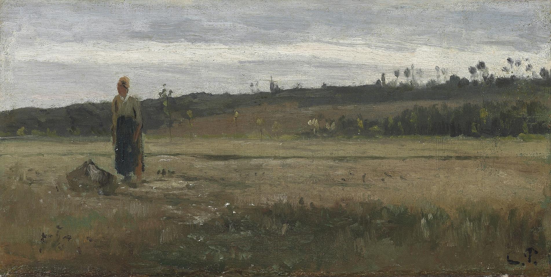 Camille Pissarro-Paysanne Dans Un Champ, La Varenne-Saint-Hilaire-1865