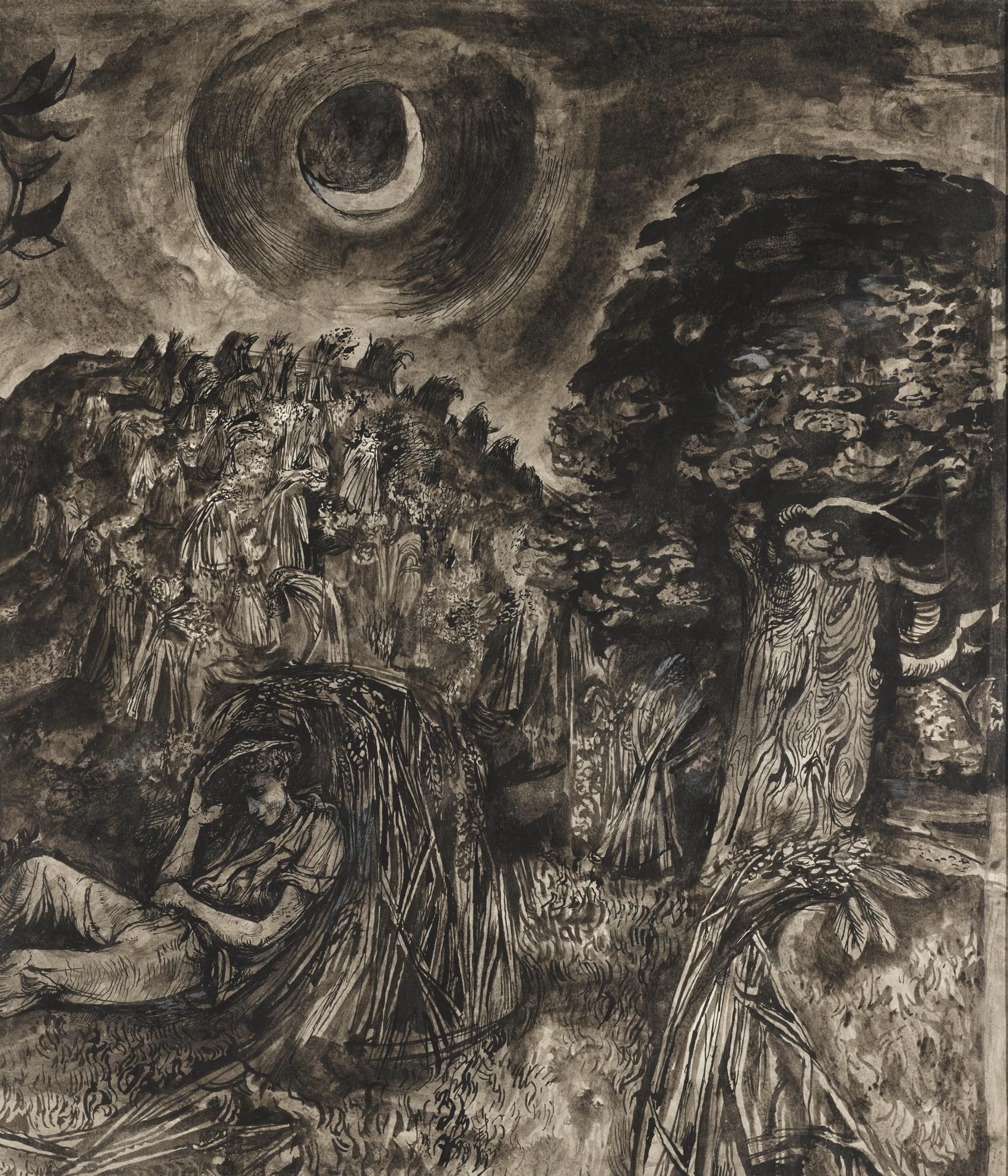 John Minton-Landscape With Harvester Resting-1944
