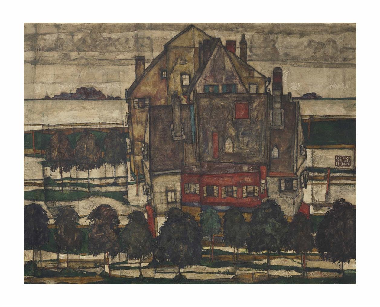 Egon Schiele-Einzelne Hauser (Hauser Mit Bergen) (Recto); Monch I (Fragment; Verso)-1915