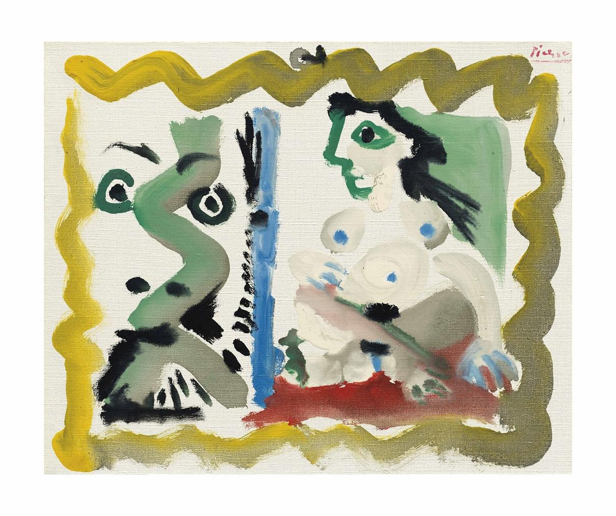 Pablo Picasso-Tete D'homme Et Nu Assis-1964
