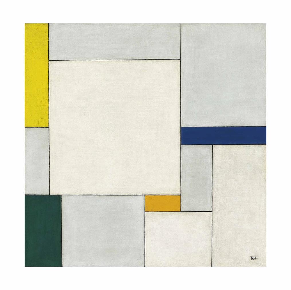 Georges Vantongerloo-Composition Dans Le Carre Avec Couleurs Jaune-Vert-Bleu-Indigo-Orange-1930