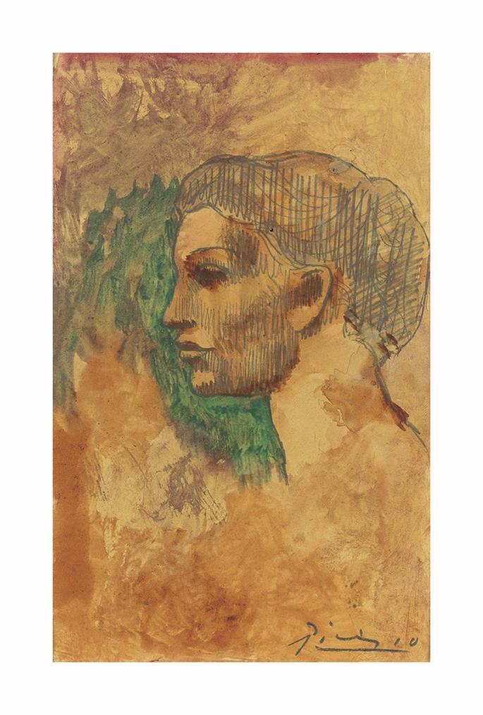 Pablo Picasso-Tete De Femme En Profil-1906