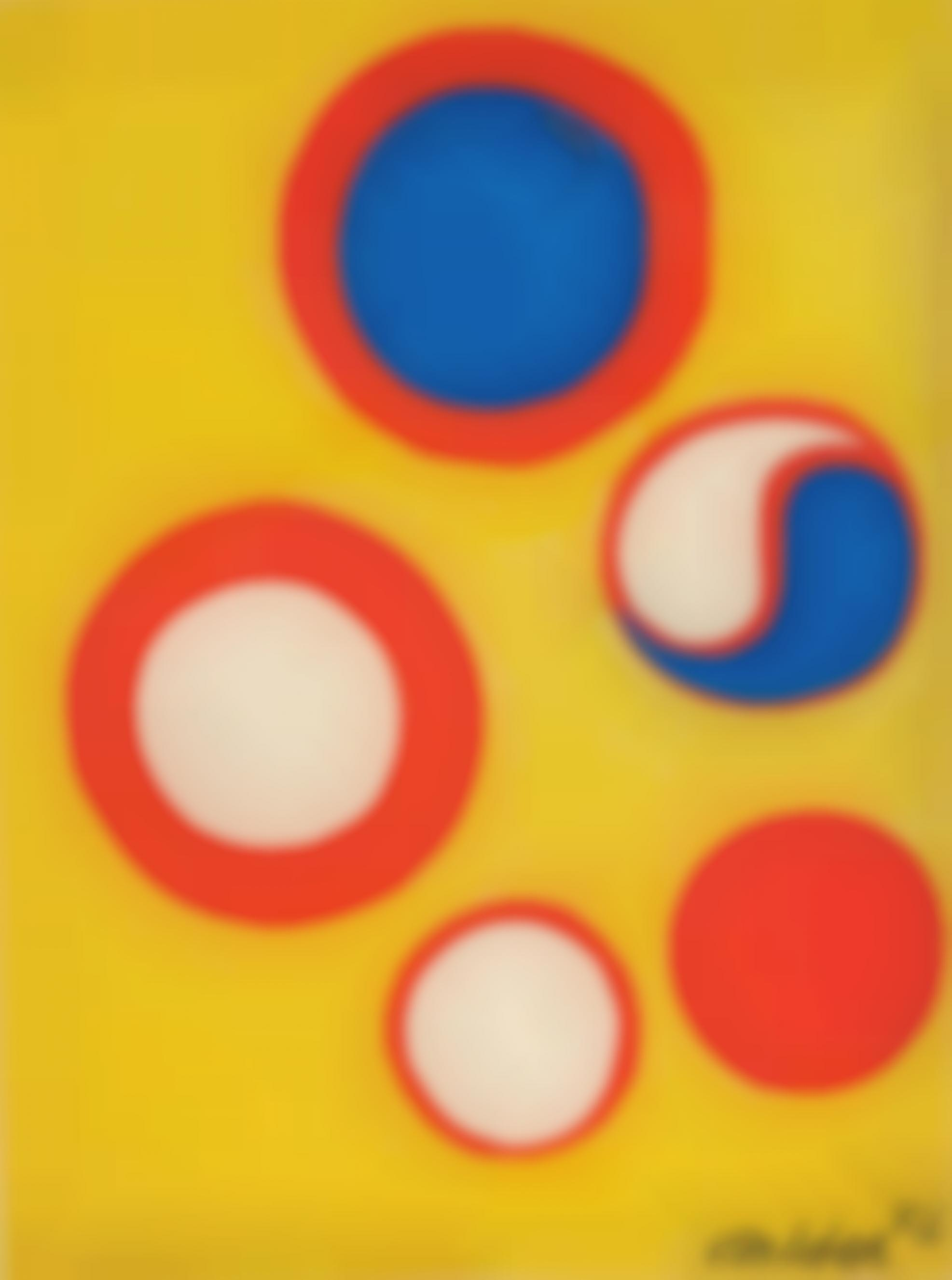 Alexander Calder-The Five Red Circles, Filled Variously-1973