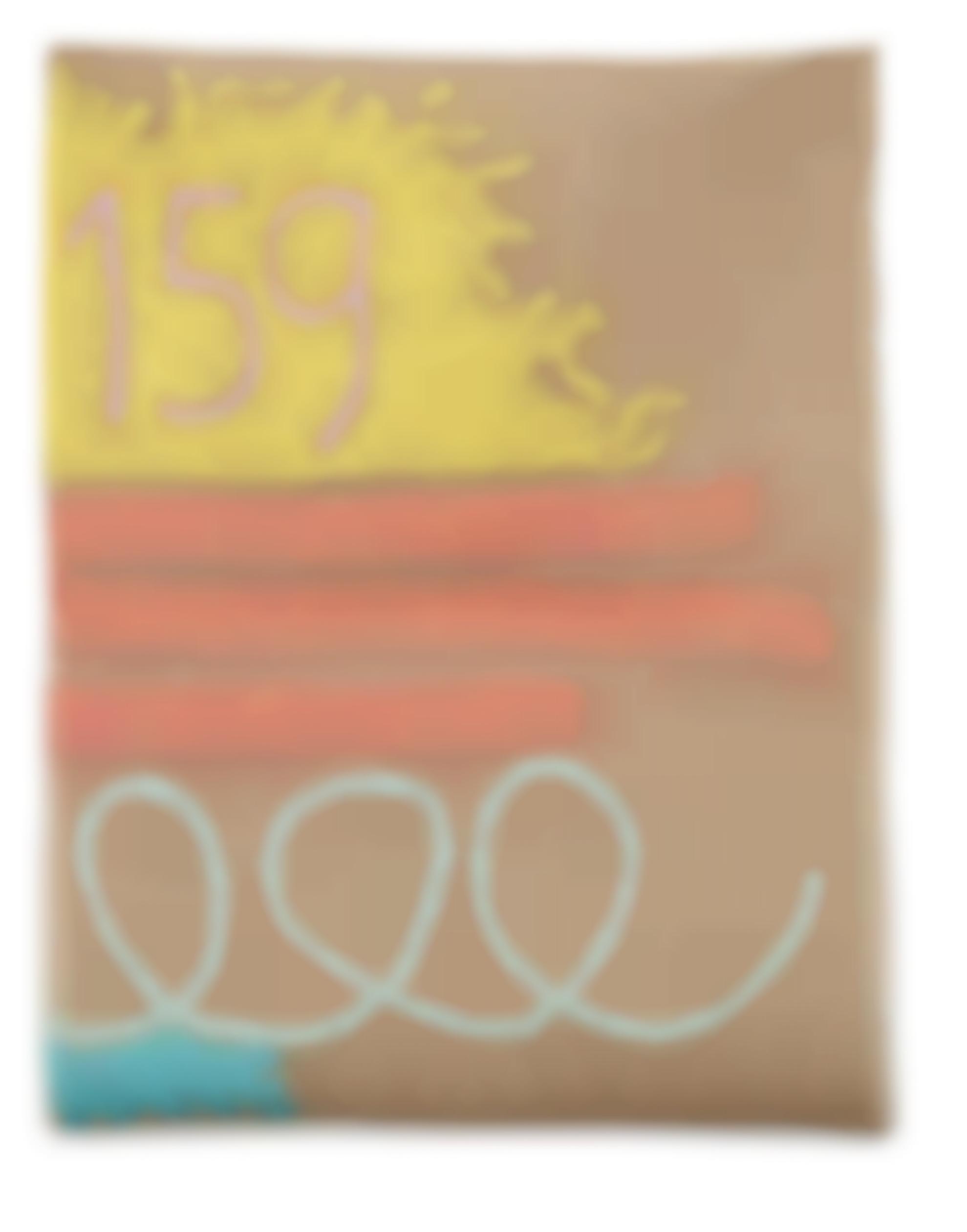 Giorgio Griffa-Tre Linee Con Arabesco N.159-1991