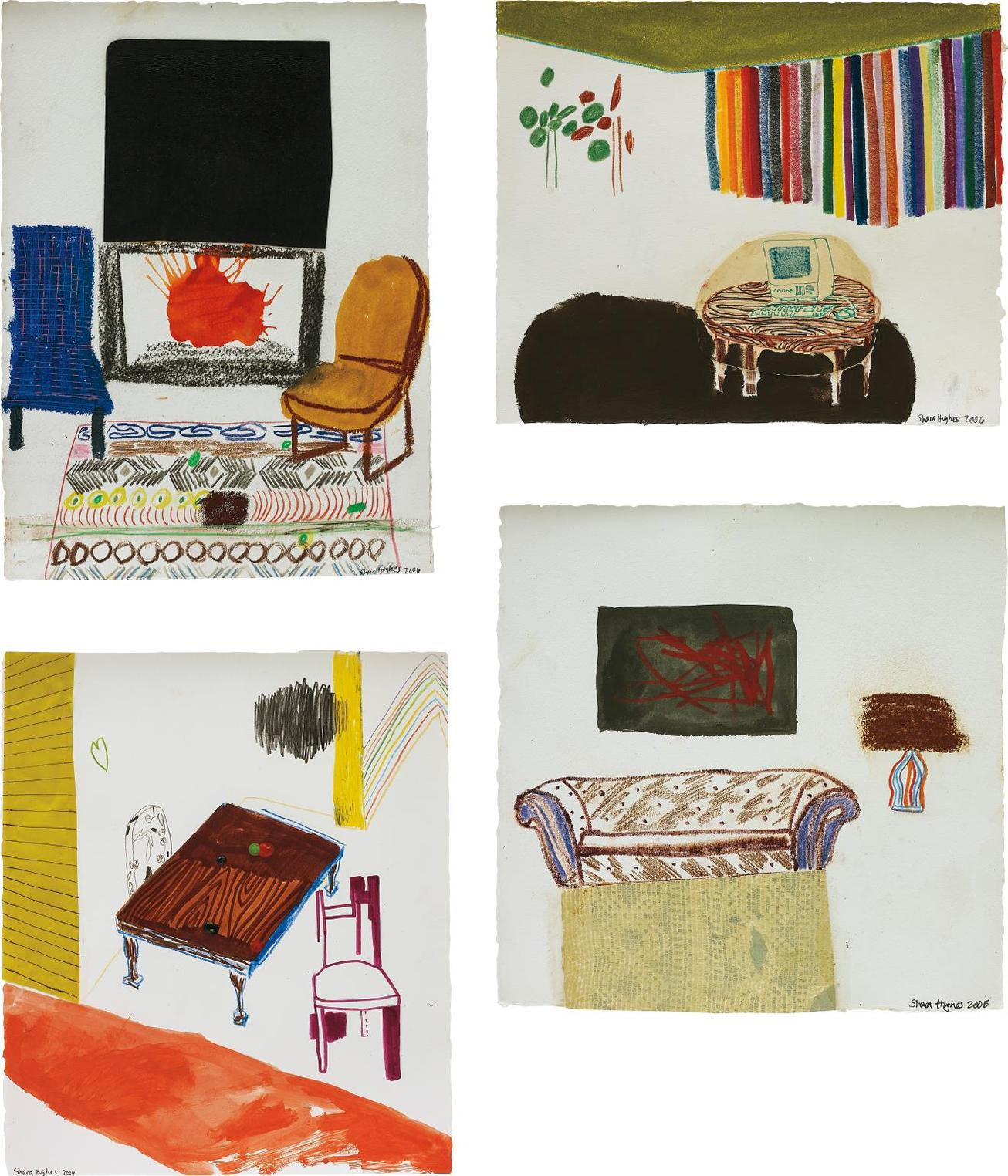 Shara Hughes-Four Works: (i) Black Art And Fireplace; (ii) Computer Table With Rainbow Shades; (iii) Rainbow Lamp; (iv) Grown-Up Table-2006