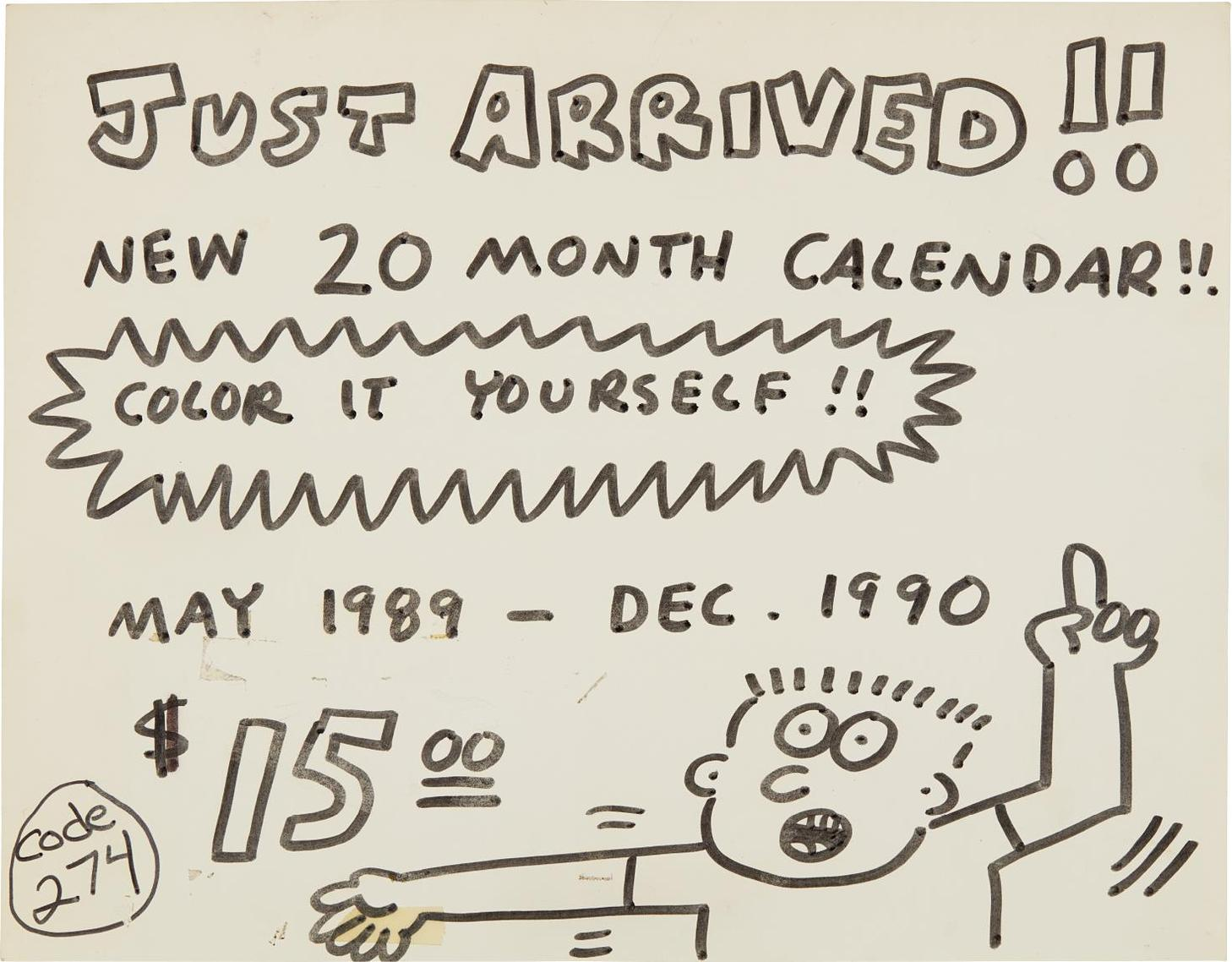Keith Haring-Pop Shop Signage (Calendar)-1990