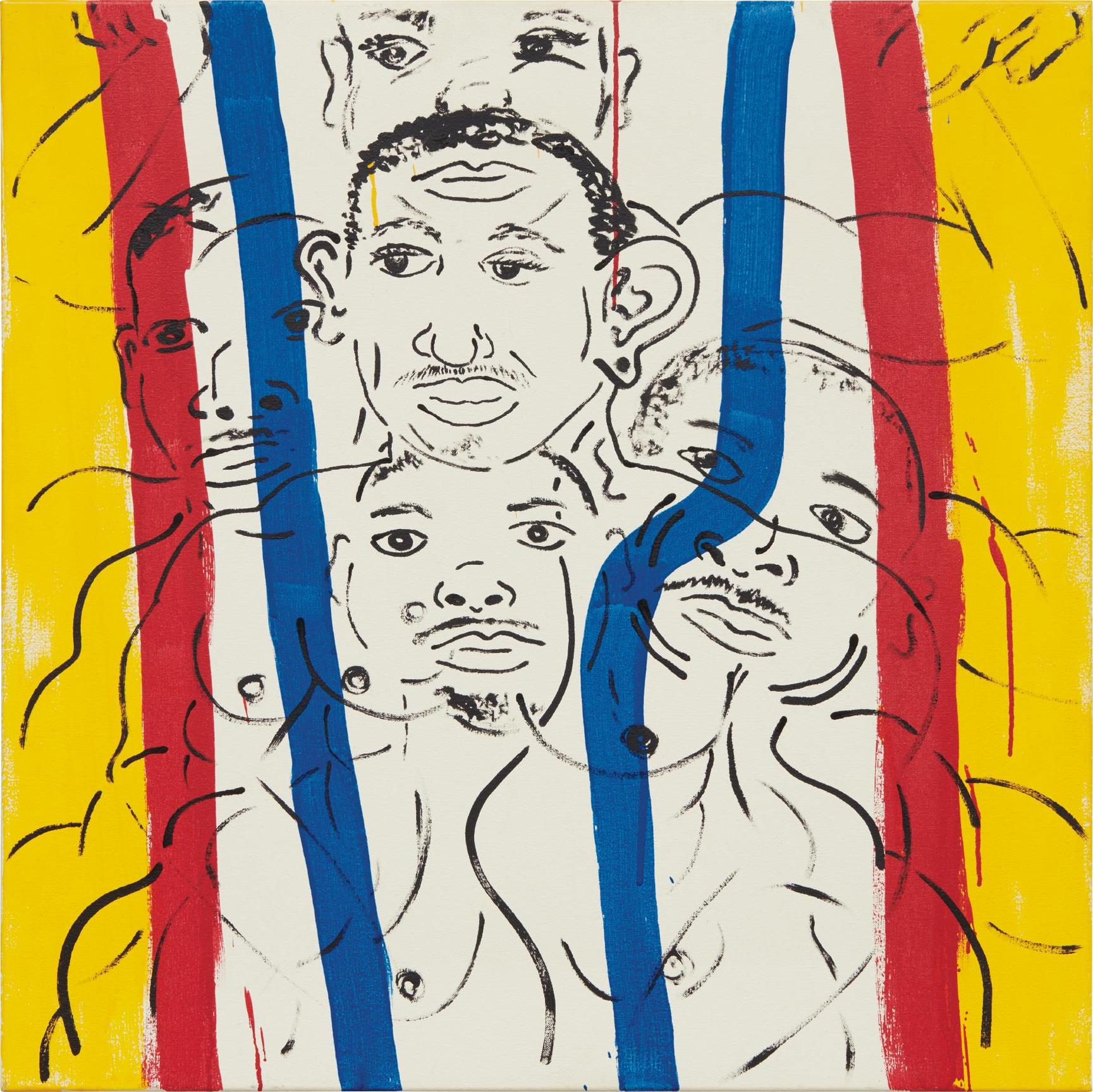 Keith Haring-Red-Yellow-Blue #16 (Portrait Of Adolpho)-1987