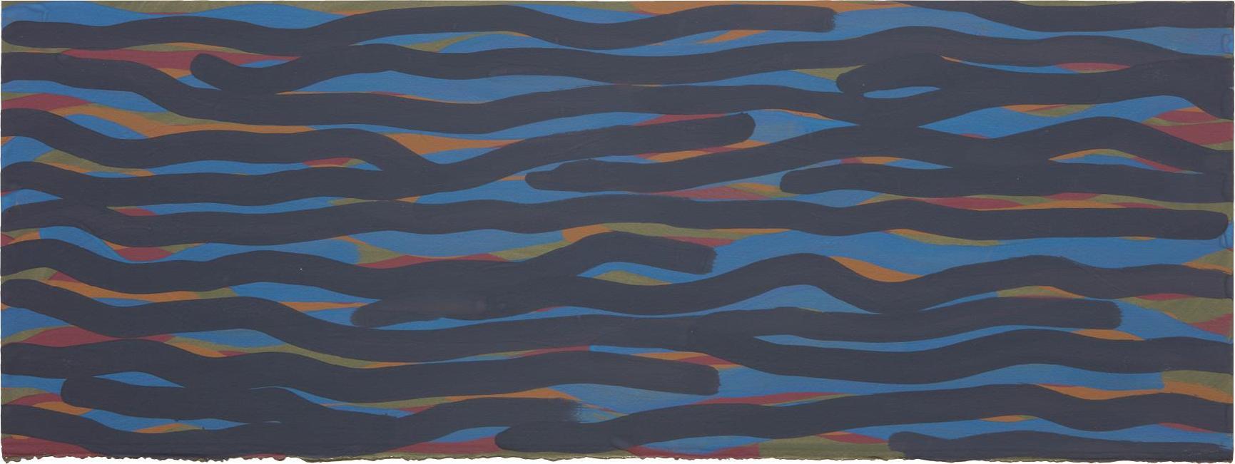 Sol LeWitt-Wavy Brushstrokes (Blue, Gold, Red, Green)-2004