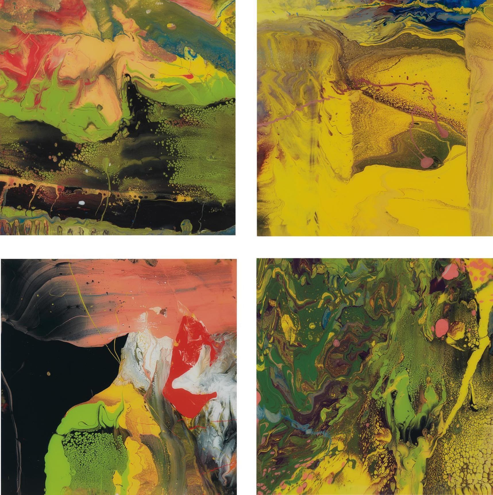 Gerhard Richter-Four Works: (i) Flow (P4); (ii) Flow (P5); (iii) Flow (P6); (iv) Flow (P7)-2014