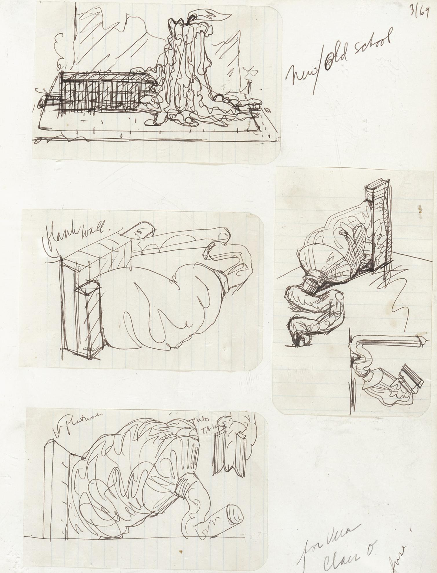 Claes Oldenburg-Notebook Page: Designs For The New School (Doodles During A Discussion Of The Subject)-1969