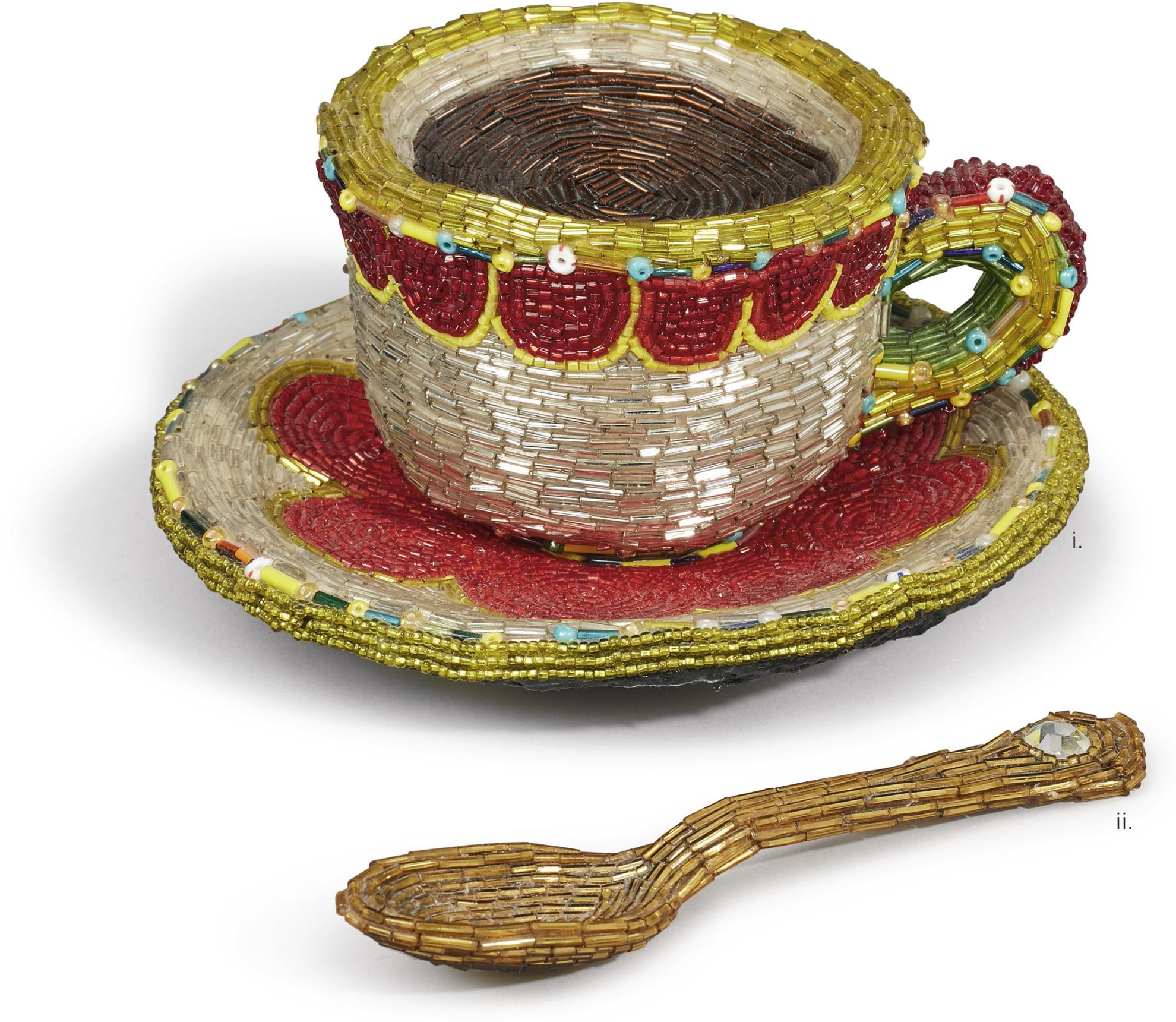 Liza Lou-Cup And Saucer; Spoon [Two Works]-1996
