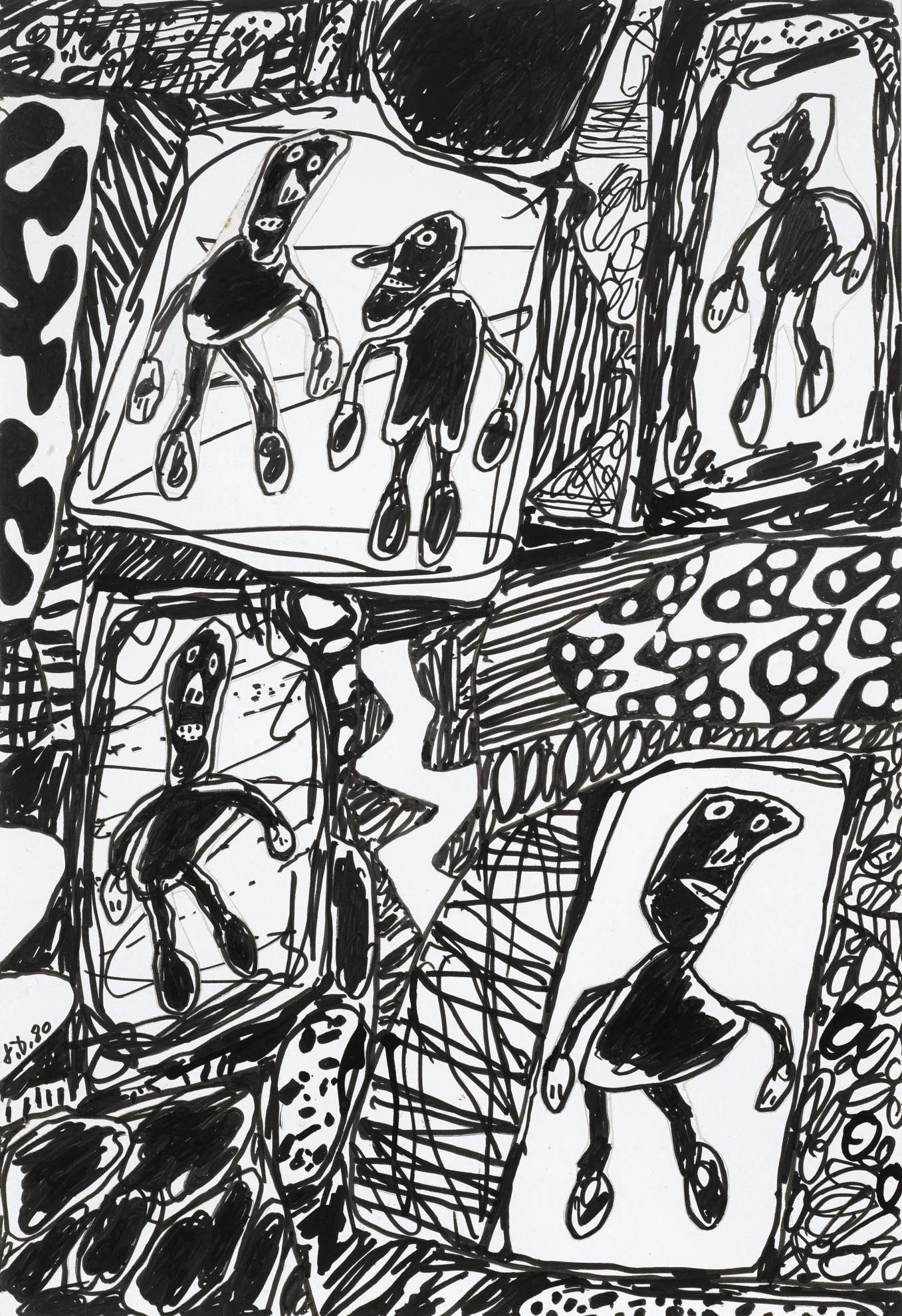 Jean Dubuffet-Paysage Avec 5 Personnages-1980