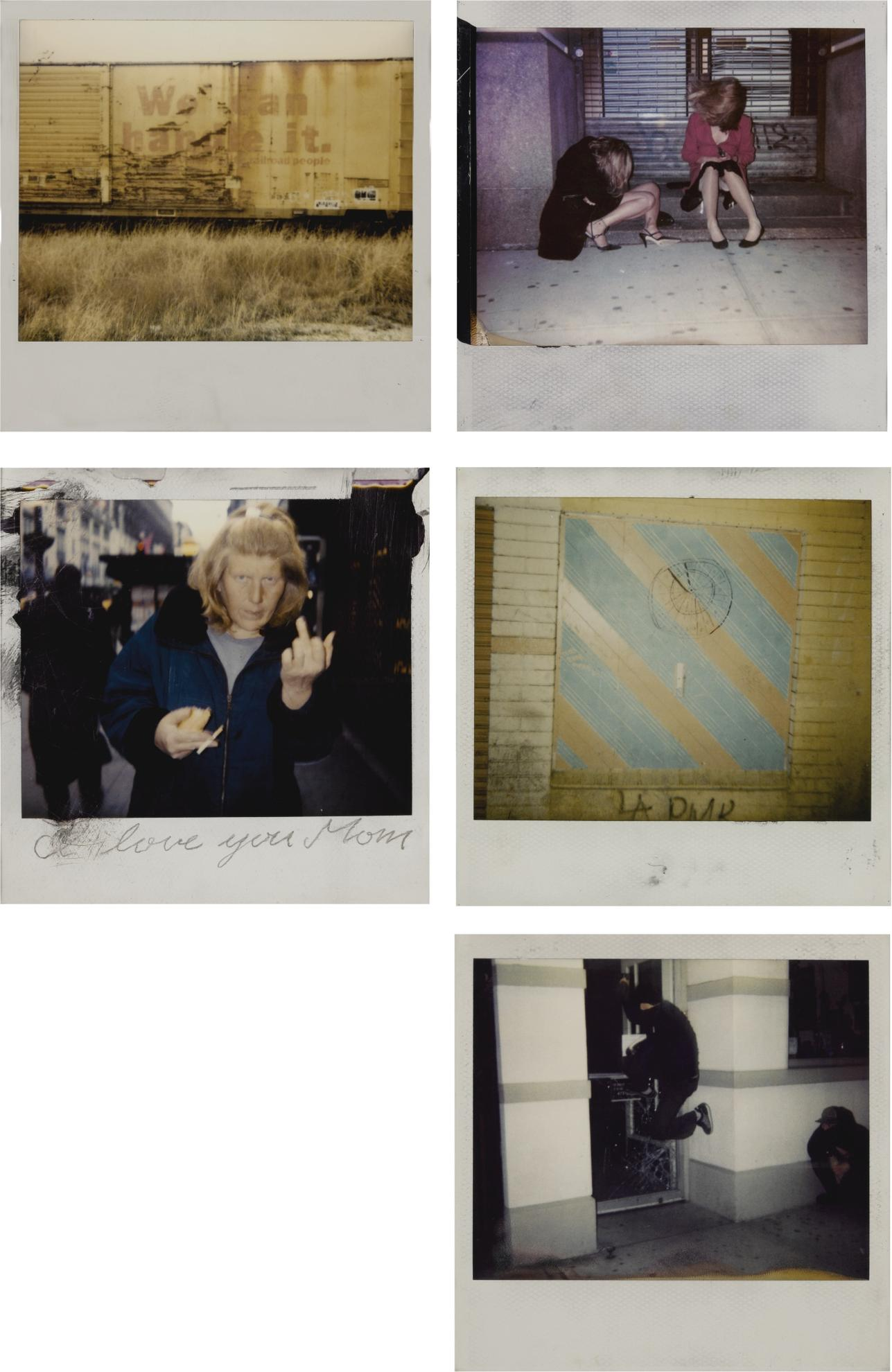 Dash Snow-Selected Images (Polaroid Enlargements): Untitled (I Love You Mom); Untitled (We Can Handle It); Untitled (Kicking a Broken Glass Door); Untitled (Drawn Dart Board); and Untitled (Sitting on a Stoop)-2000