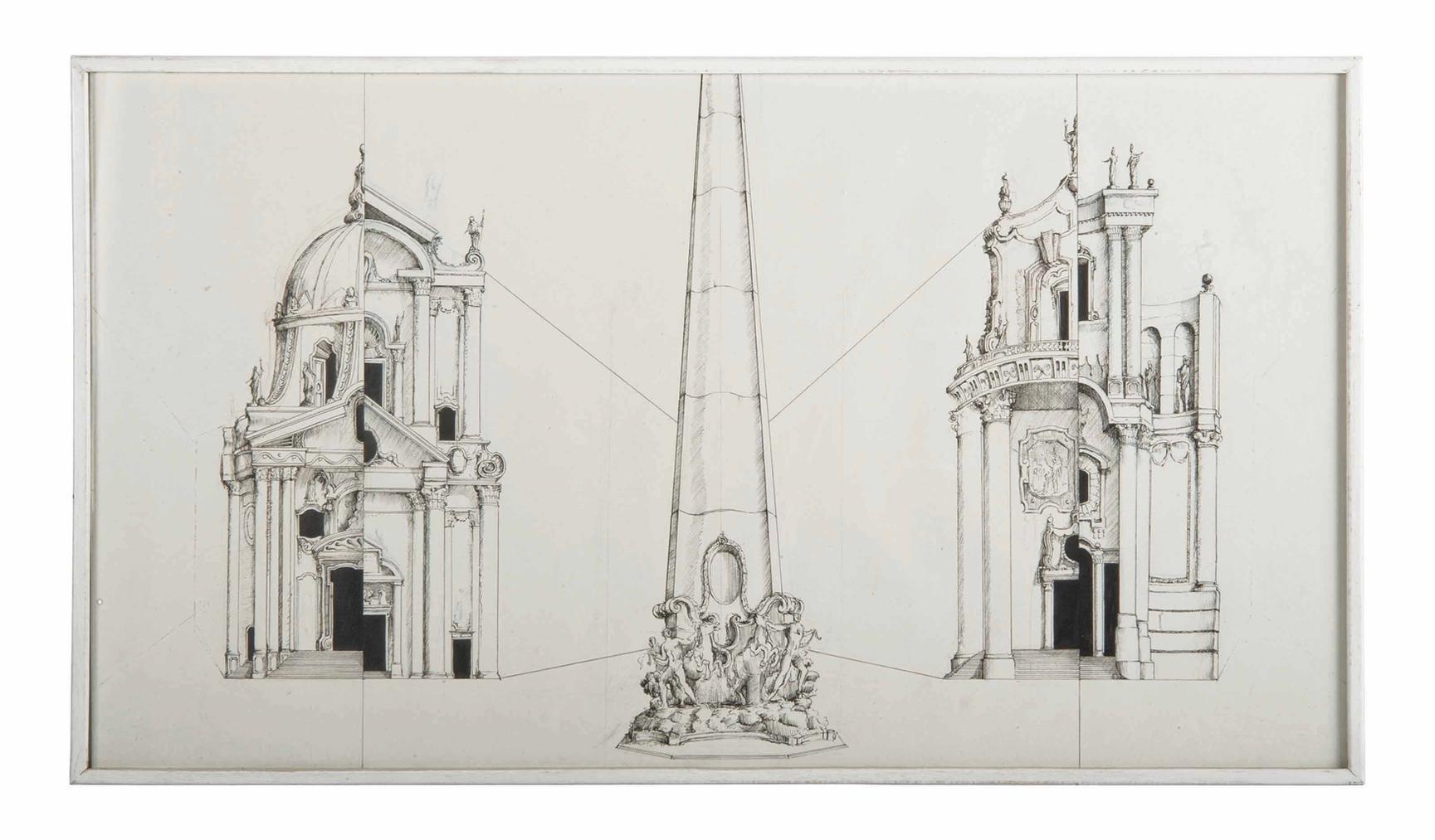 Pablo Bronstein-4 Alternative Designs For The Piazza Del Popolo In The Style Of Carlo Rainaldi-2005