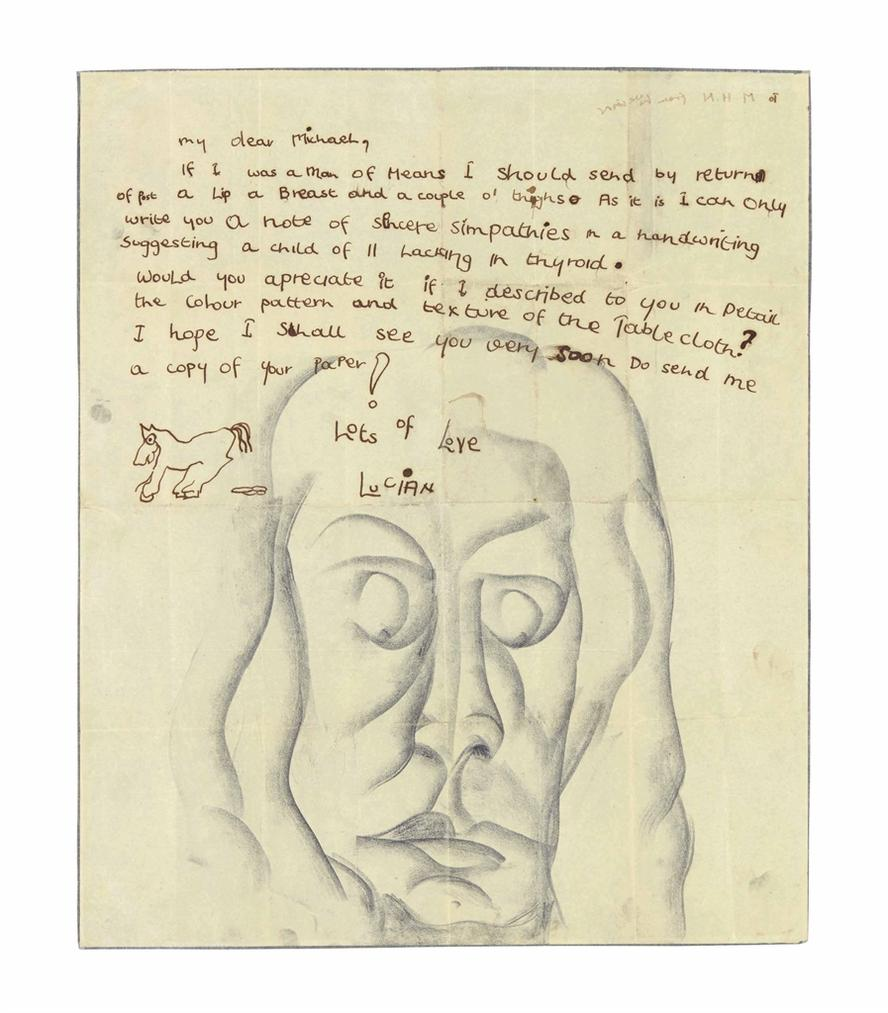 Lucian Freud-Study Of A Head – Letter To Michael Nelson-1941