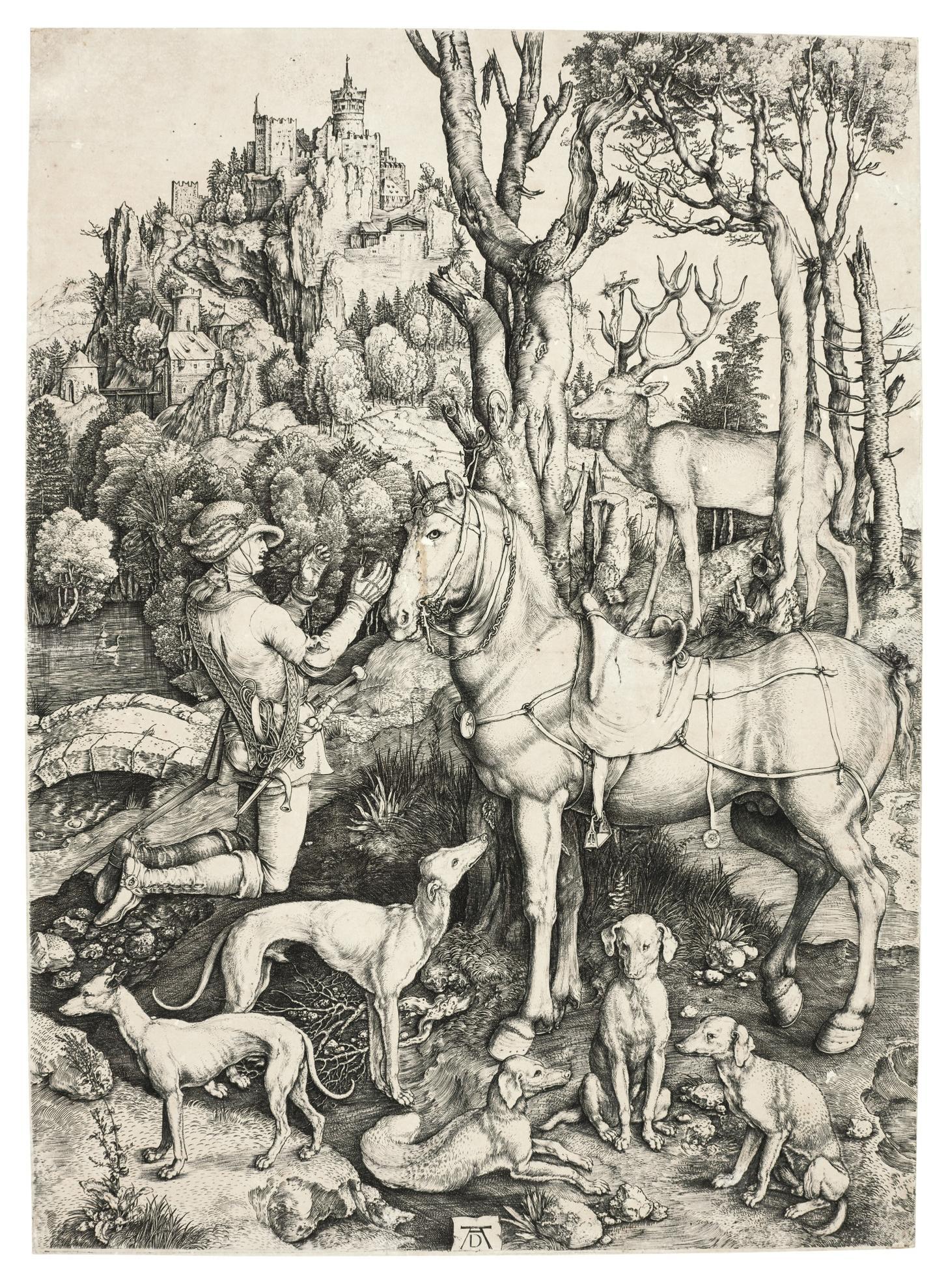 Albrecht Durer-Saint Eustace (B. 57; M., Holl. 60)-1501
