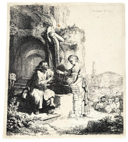 Rembrandt van Rijn-Christ And The Woman Of Samaria Among Ruins  (B., Holl. 71; New Holl. 127; H. 122)-1634