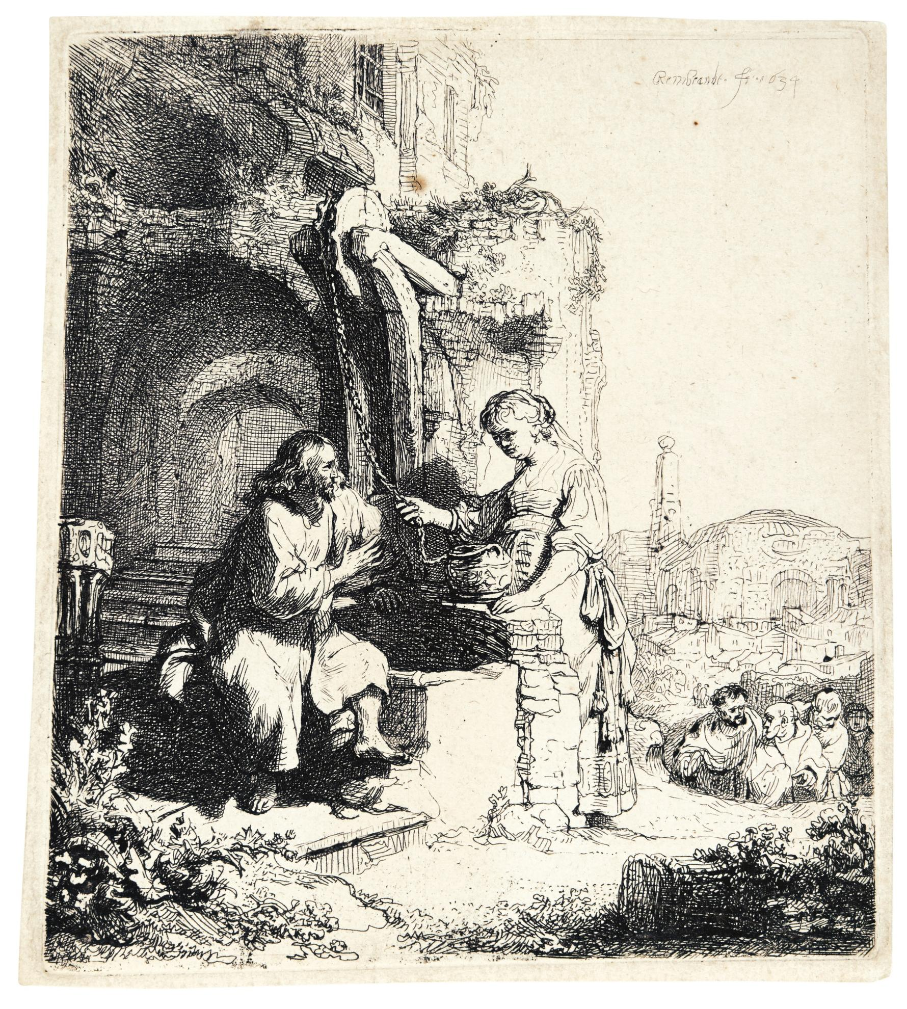 Rembrandt van Rijn-Christ And The Woman Of Samaria Among Ruins  (B., Holl. 71; New Holl. 127; H. 122)-1634