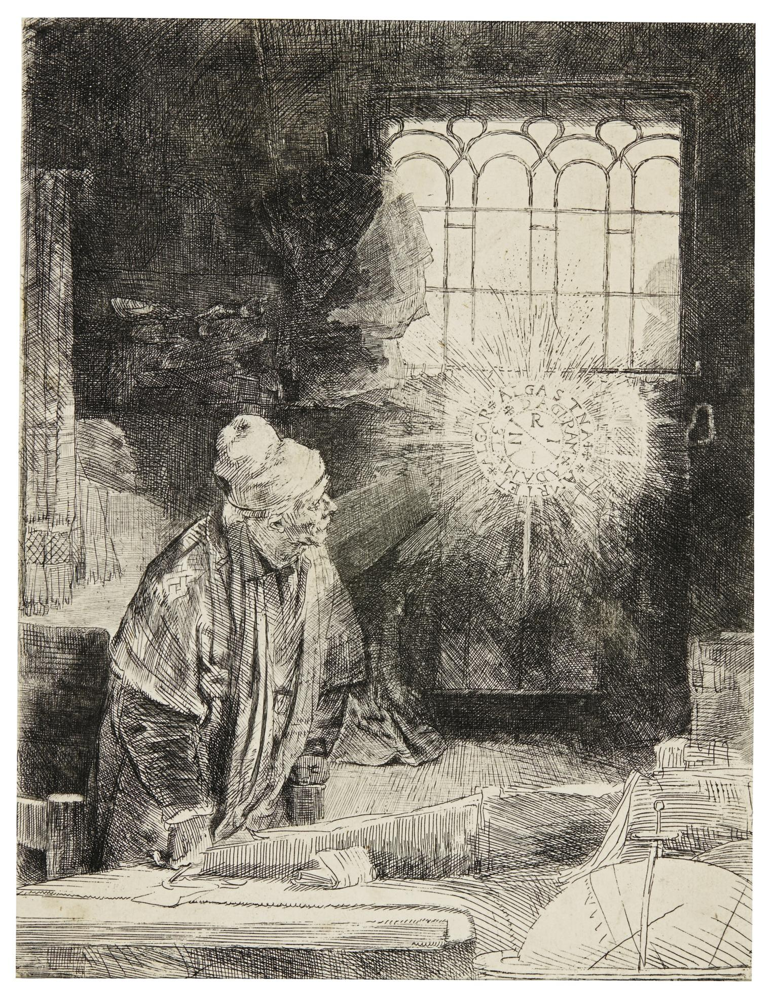 Rembrandt van Rijn-A Scholar In His Study (Faust) (B., Holl. 270; New Holl. 270; H. 260)-1652