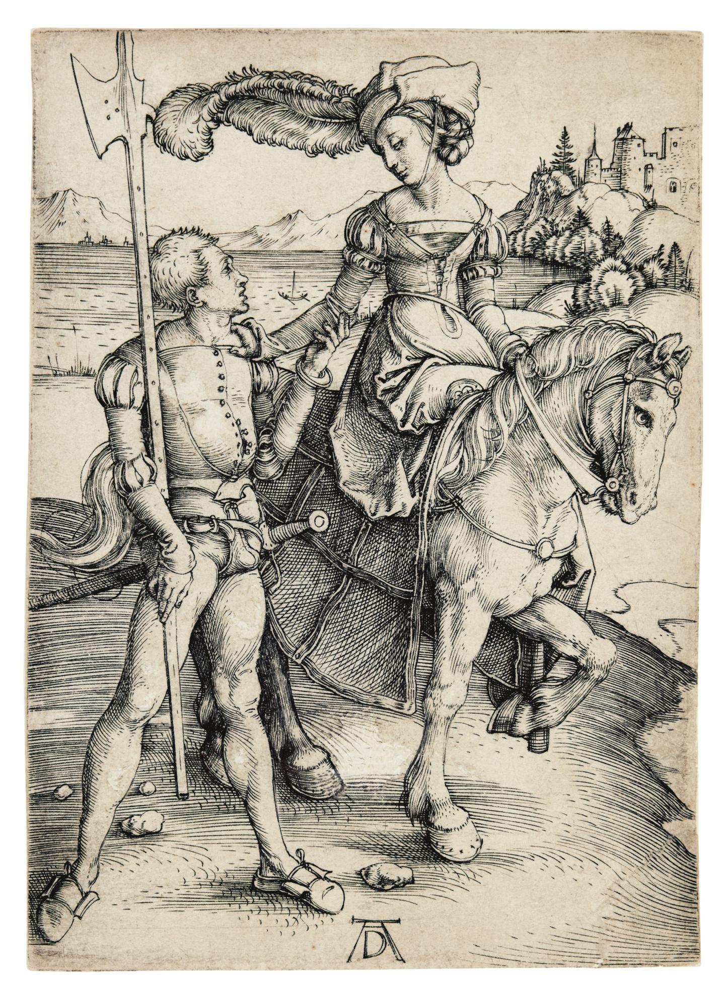 Albrecht Durer-The Lady On Horseback And A Lansquenet (B. 82; M., Holl. 84)-1497