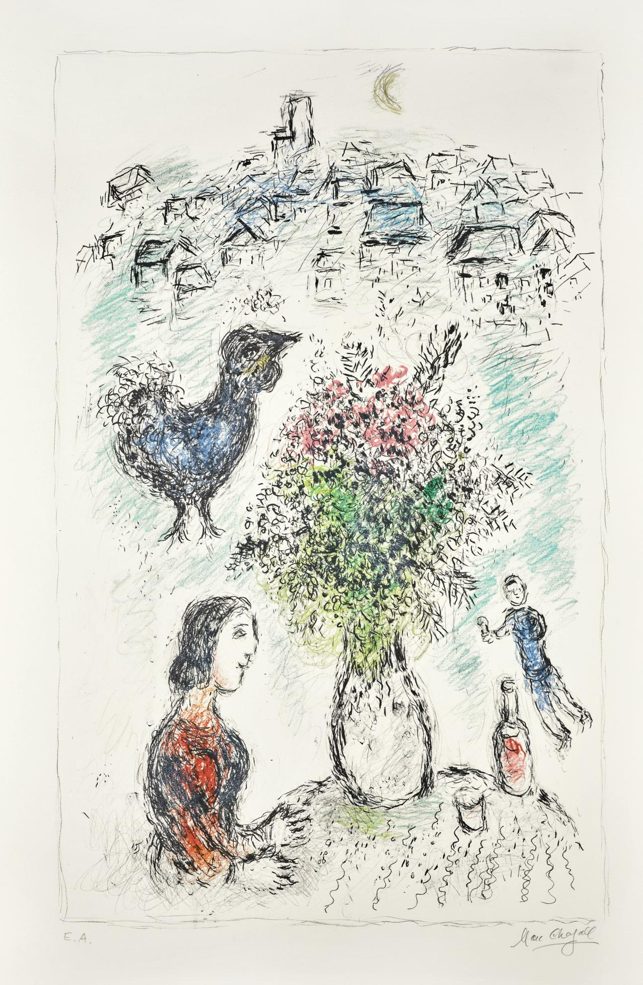 Marc Chagall-Le Bouquet Rose (M. 979)-1980