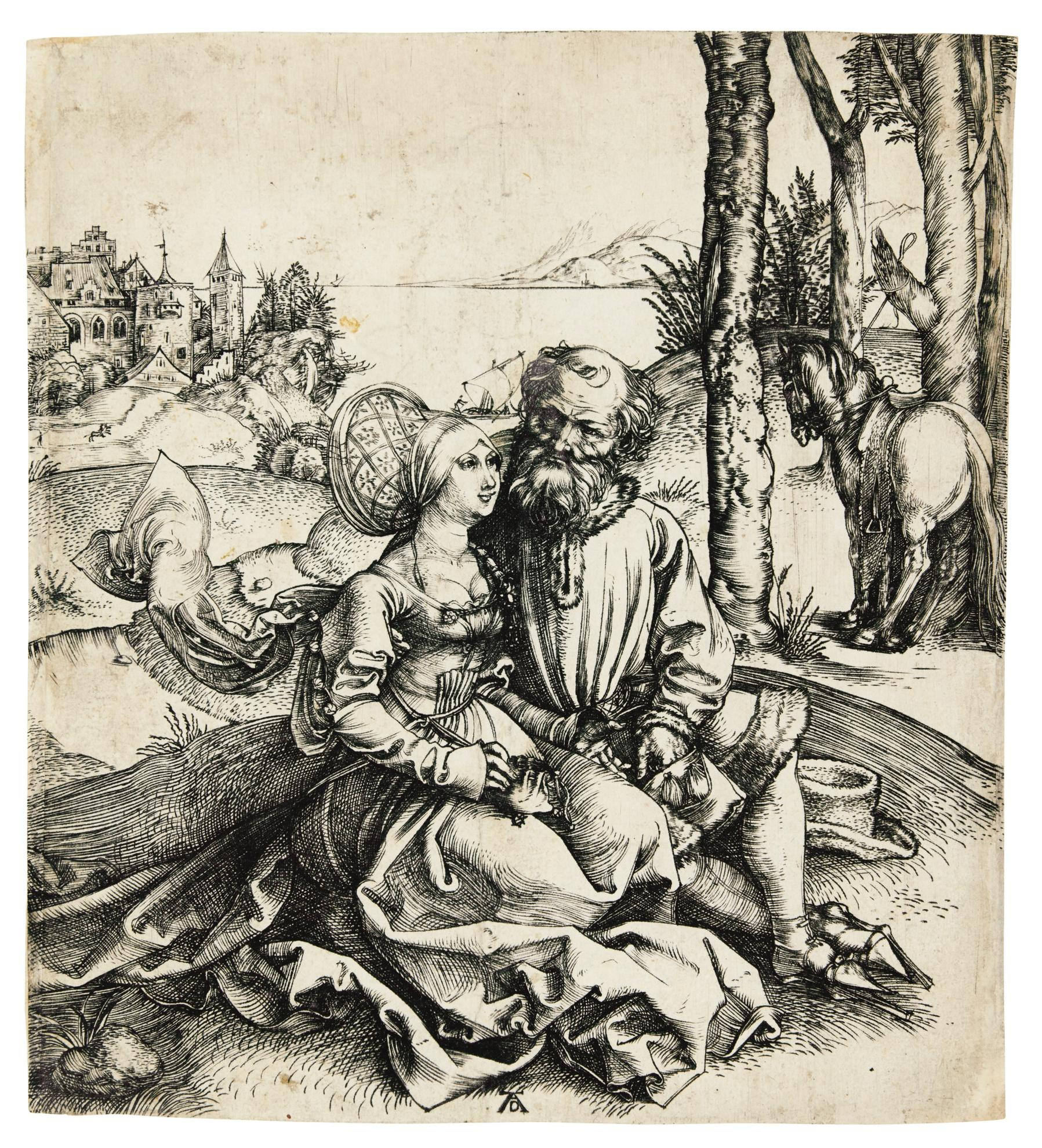 Albrecht Durer-The Ill-Assorted Couple (B. 93; M., Holl. 77)-1495