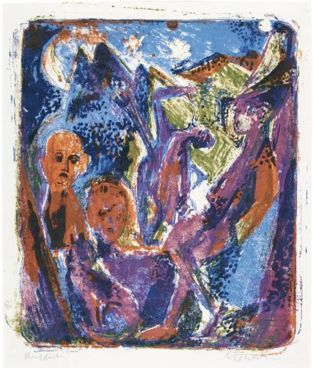 Ernst Ludwig Kirchner-Abendszene. - Mondnachtszene An Der Stalltur (Gercken 1013; Dube L361)-1919