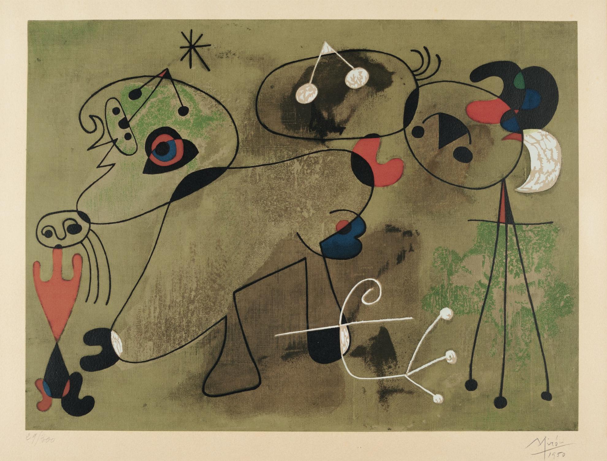Joan Miro-Personnage Et Animaux (Mourlot 97); And Composition Sur Fond Vert-1950