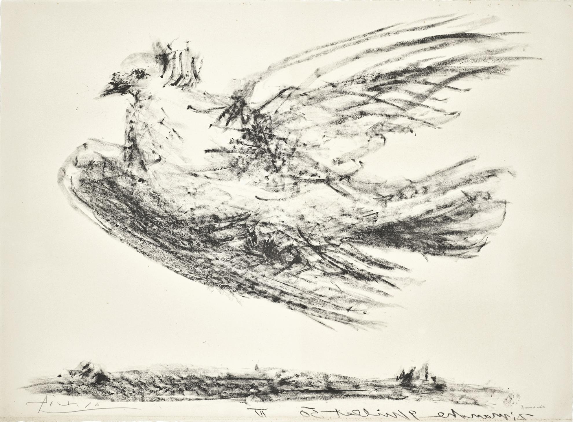 Pablo Picasso-La Colombe En Vol (B. 679; Mourlot, Picasso Project 193)-1950