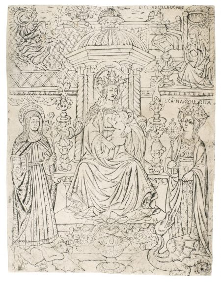 Tuscan School - The Virgin And Child Enthroned Between Saint Catherina Of Siena And Saint Margaret (Bartsch 2; Hind A.I.36)-1470