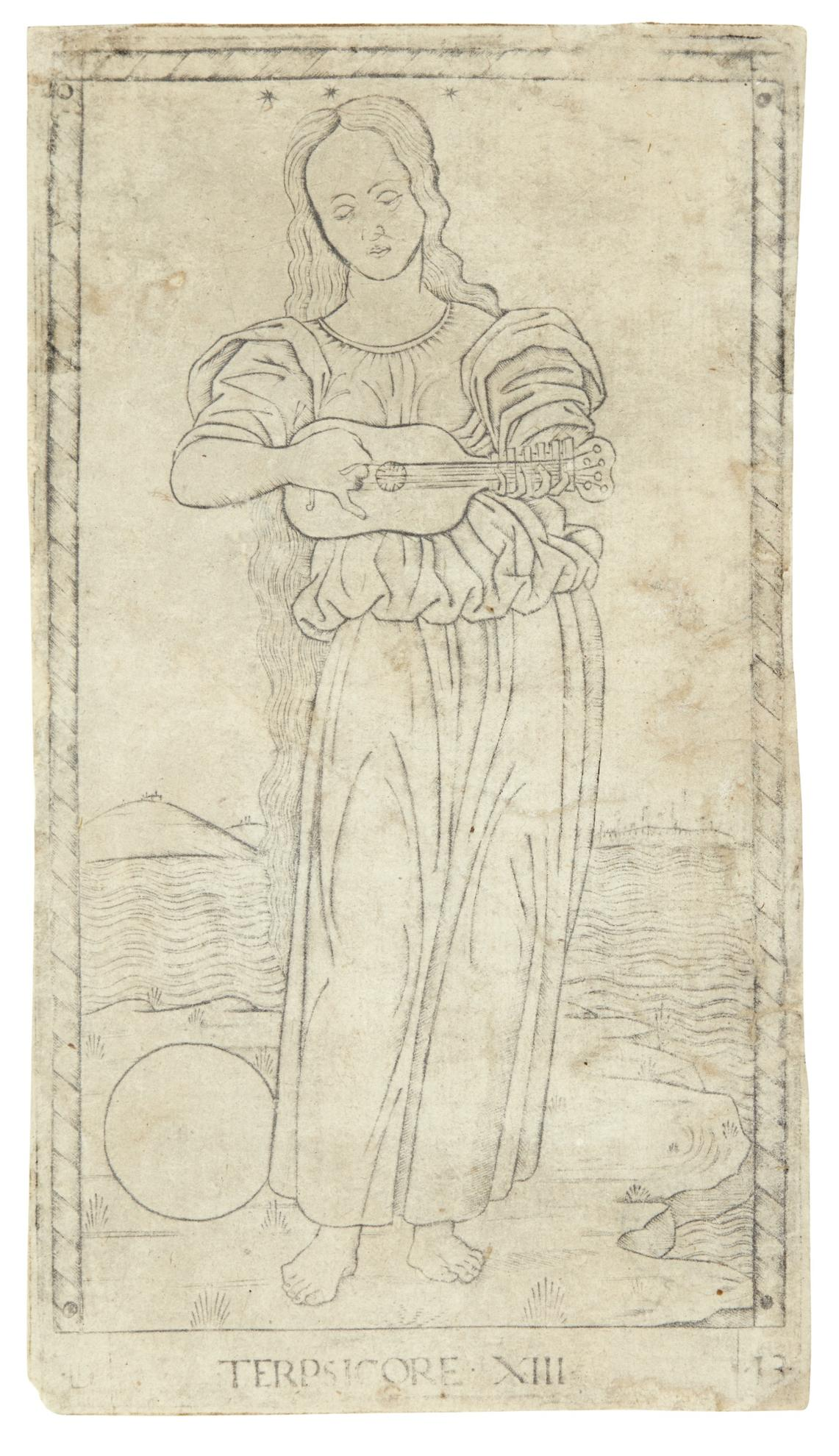 An Anonymous Northern Italian Master - Terpsichore (Terpsicore Xiii) (Bartsch 30-A; Hind E.I.13A)-1467
