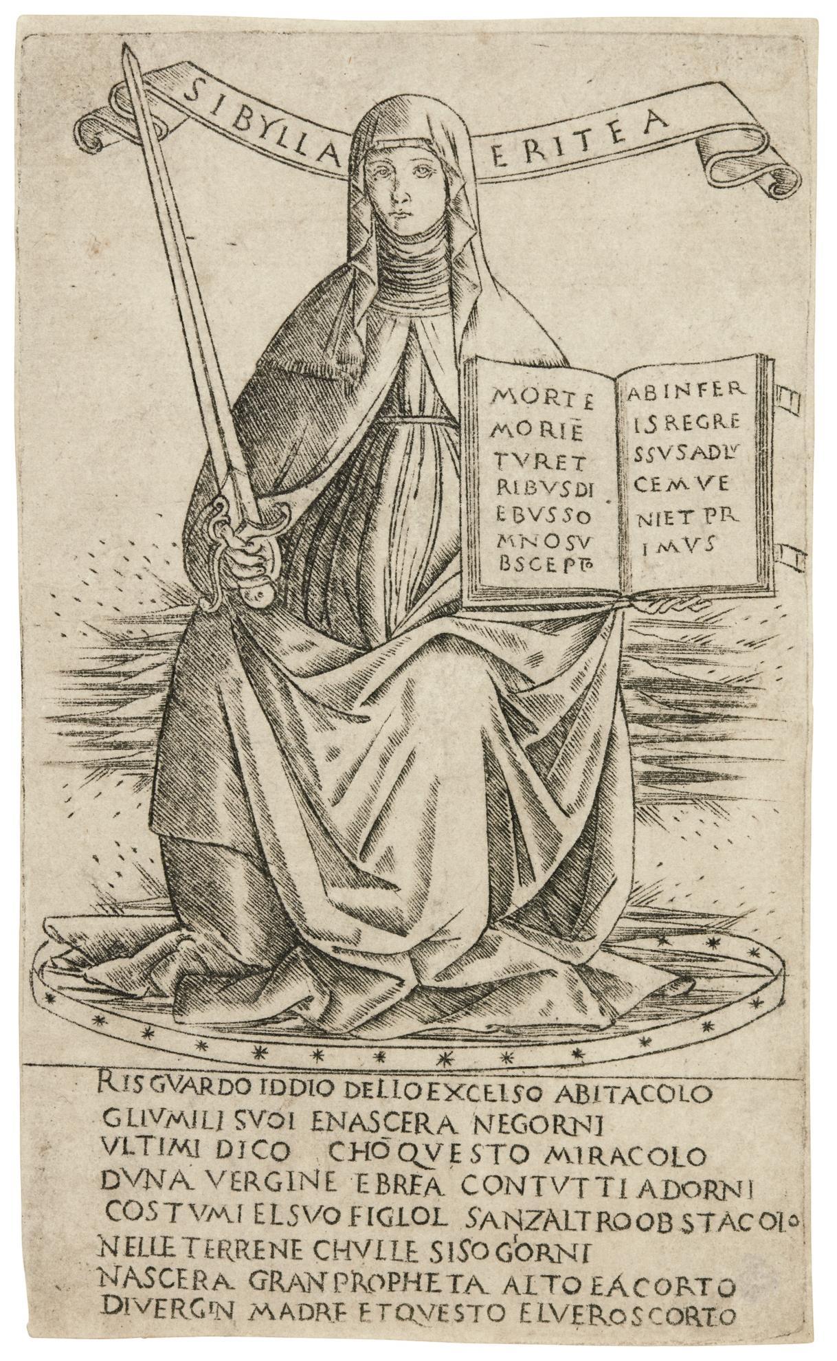 Florentine School - The Erythraean Sibyl (B. 13; H. C.Ii.5B)-1500