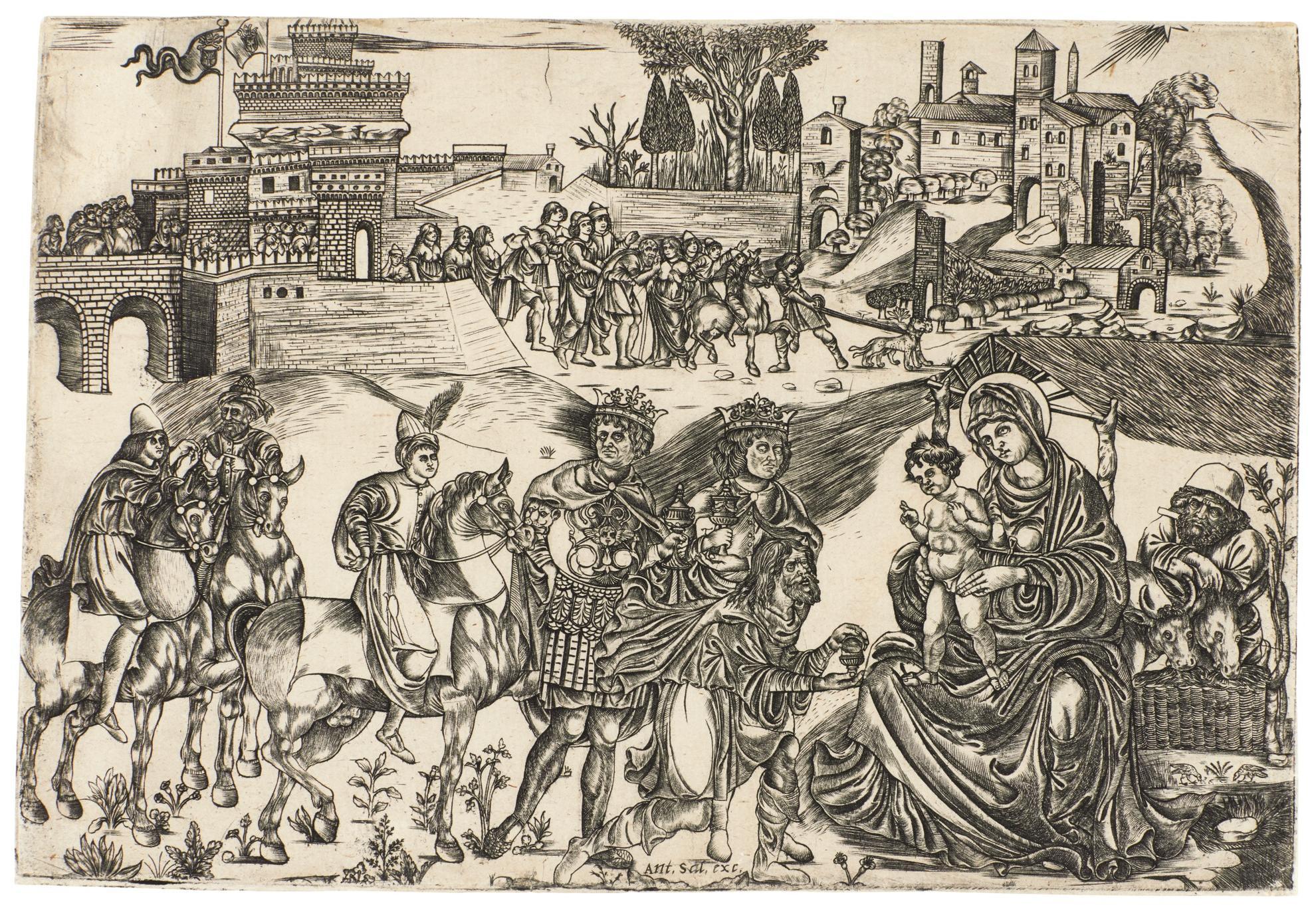 Italian School - The Adoration Of The Magi (B. 1; H. F.16)-1500
