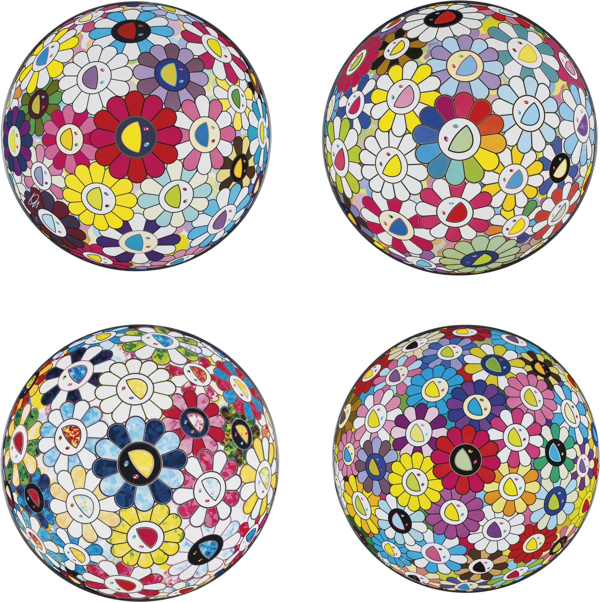 Takashi Murakami-A Collection Of Four Flowerball Prints-2015