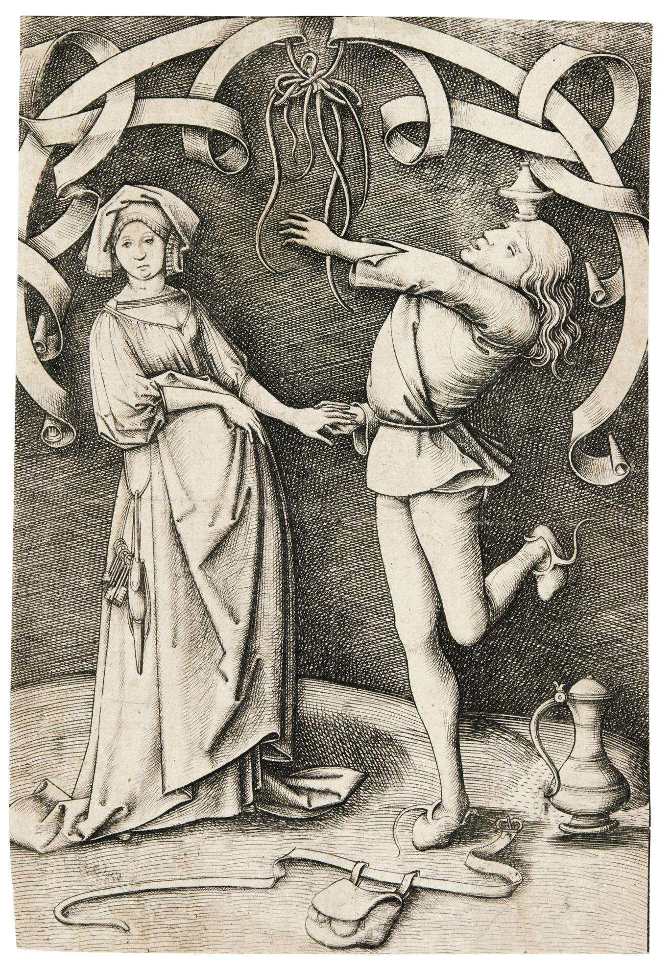 Israhel Van Meckenem - The Juggler And The Woman (G. 405; L., Holl. 503)-1495